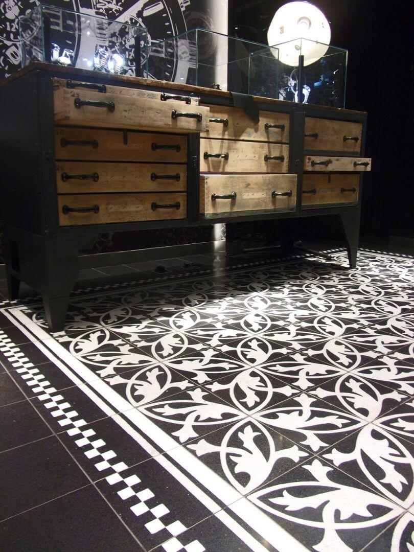 betonfliesen f r k che wand und boden trendige. Black Bedroom Furniture Sets. Home Design Ideas